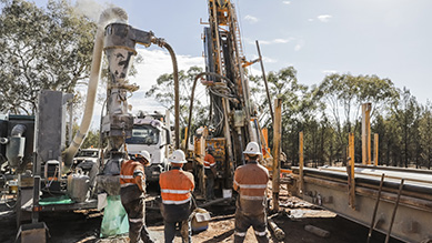 Drilling equipment operating during mining